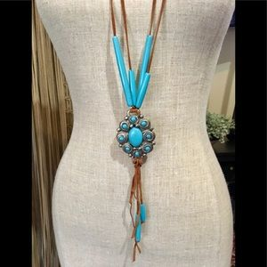 Boho Native American leather turquoise Necklace